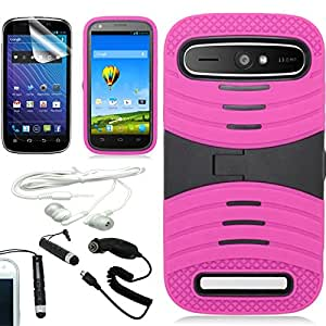 [ARENA] PINK BLACK HYBRID SHIELD KICKSTAND COVER FITTED HARD GEL CASE for ZTE GRAND S PRO + FREE ARENA ACCESSORY KIT