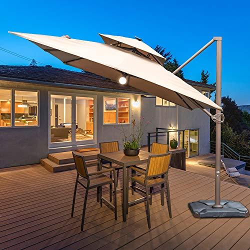 Abba Patio 9 x 12-Feet Offset Cantilever Solar Lights Patio Hanging Umbrella with Cross Base, Cocoa (Freestanding Patio Umbrella)