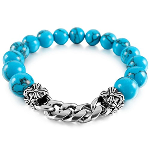 INBLUE Men,Women's 10mm Stainless Steel Energy Bracelet Link Wrist Simulated Turquoise Blue Knight Fleur De Lis Bead Elastic