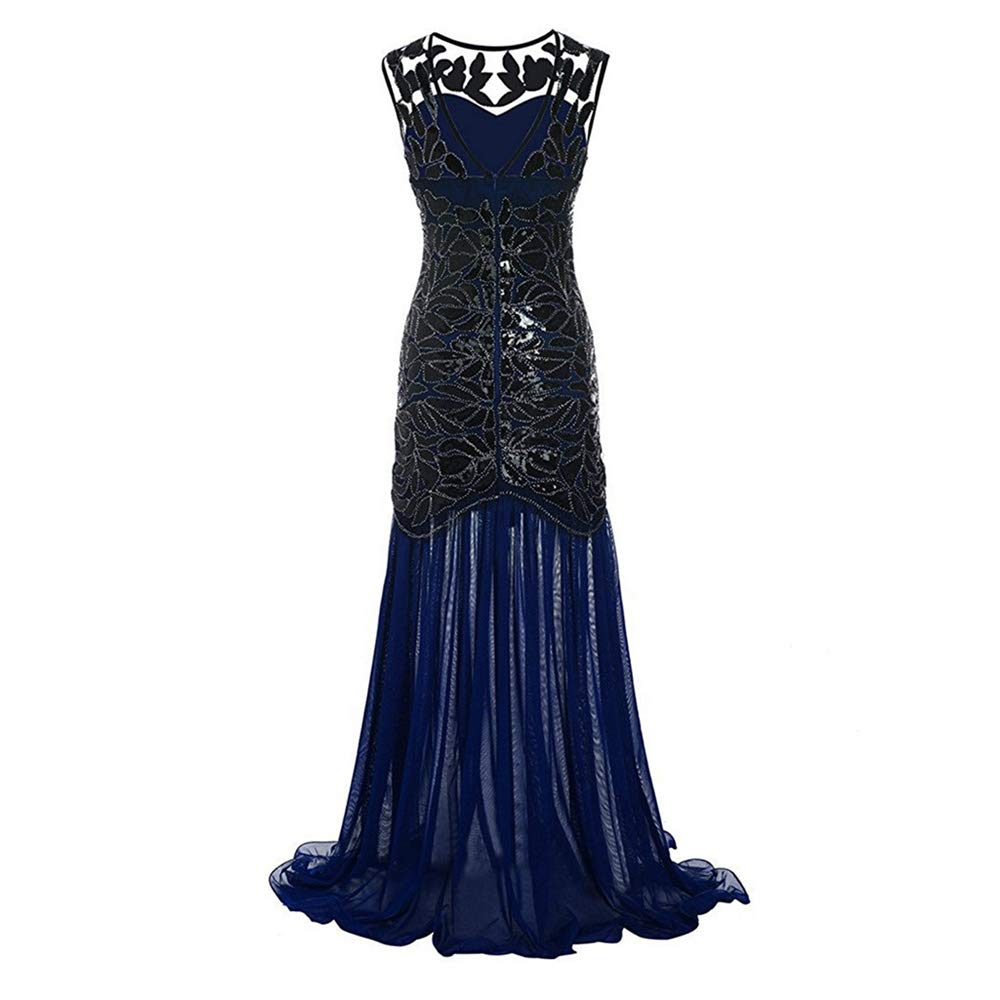 Libermall Women's Dresses Summer 1920s Vintage Sequined Patchwork Evening Party Maxi Prom Long Dress Navy by Libermall Dresses