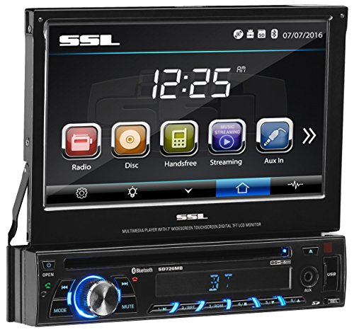 Sound Storm Labs SD726MB Single Din Touchscreen Bluetooth DVD CD MP3 USB SD AMFM Car Stereo 7 Inch Digital LCD Monitor Detachable Front Panel (2014 Dodge Charger Stereo)