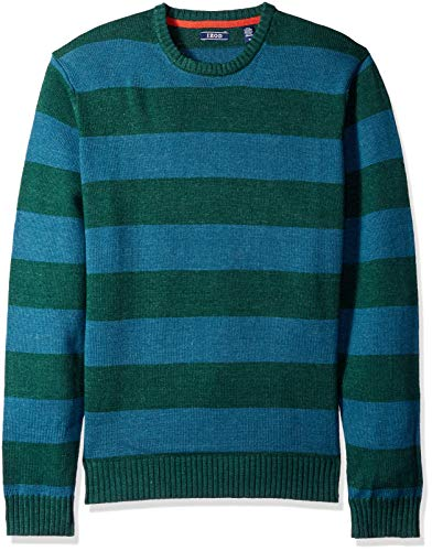 Rugby Stripe Crewneck Sweater - IZOD Men's Newport Stripe 7 Gauge Crewneck Sweater, Rugby Bot Garden, Small