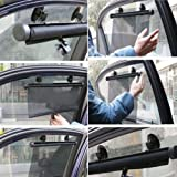 Prosmart - Car Window Black Color Curtains Roller Blinds Sun Shade - Attach By Suckers / Window Hooks