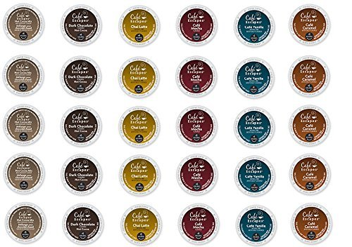 30 Count - Cafe Escape Variety K Cup For Keurig K-Cup Brewers - Cafe Caramel, Cafe Vanilla, Cafe Mocha, Chai Latte, Milk Chocolate Hot Cocoa, Dark Chocolate Hot Cocoa