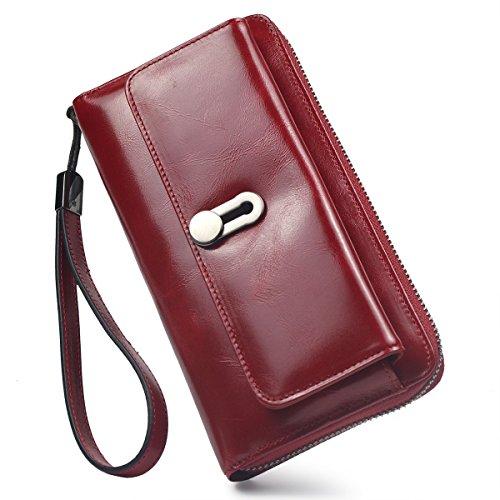 Women Leather Long Clutch Wallet(Red) - 4