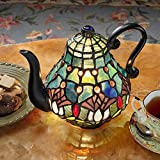 Design Toscano TF10042 Victorian Teapot Tiffany-Style Stained Glass Illuminated Sculpture - 9.5