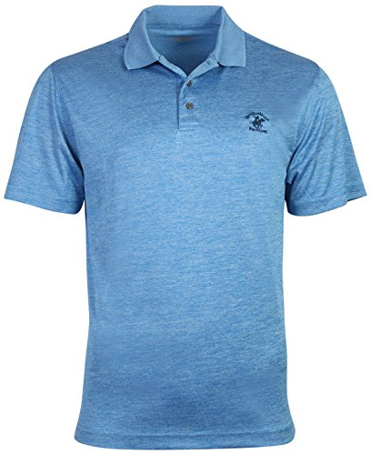 Beverly Hills Polo Club Men's Athletic Performance Sport Polo, Blue Heather, - Club Athletic