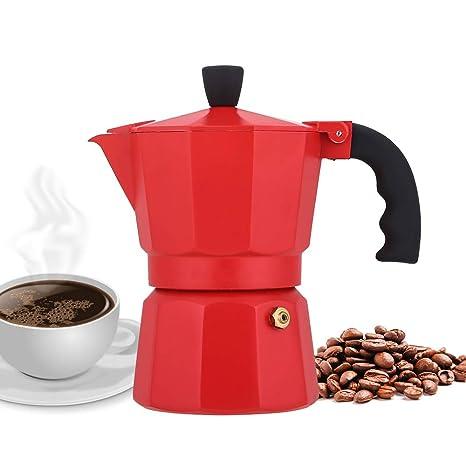 NARCE Stovetop Espresso Maker Moka Pot 3 Cup - 5oz| Red - Cuban Coffee Maker| Stove top coffee maker| Moka Italian espresso |greca coffee maker| ...