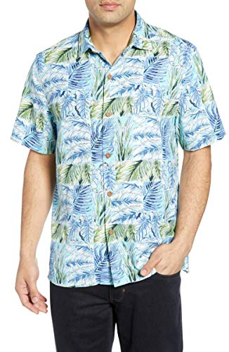 Tommy Bahama Think Outside The Fronds Silk Camp Shirt (Color: Blue Orchid, Size L)