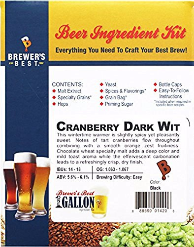 Home Brew Ohio B017WBW9Z8 FBA_Does Not Apply Brewer's Best One Gallon Beer Ingredient Kit-Cranberry Dark Wit, (Cranberry Wine Glass)