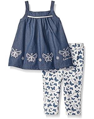 Baby Girls' Dark Blue Chambray Tunic and Printed Leggings