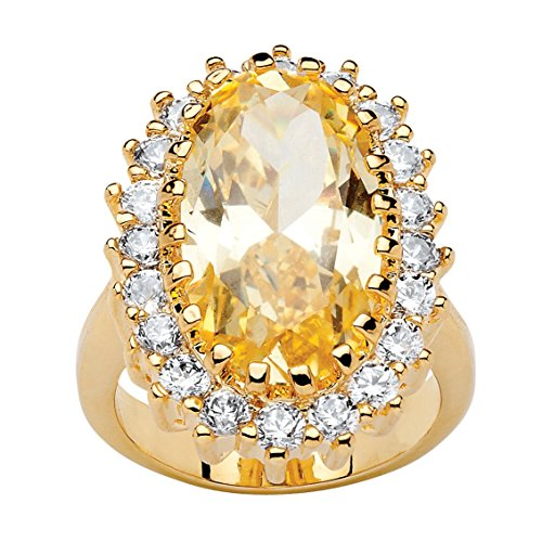 Palm Beach Jewelry 14K Yellow Gold-plated Oval Cut Canary Yellow and White Cubic Zirconia Halo Ring Size 6