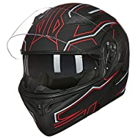 ILM Motorcycle Dual Visor Flip up Modular Full Face Helmet DOT with 6 Colors (L, BLACK RED) from ILM