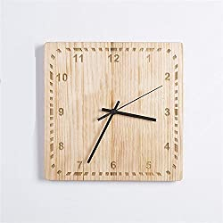 TOYM- Chinese Creative Simple Modern Pastoral Retro Art Solid Wood Square Living Room Bedroom Quiet Wall Clock