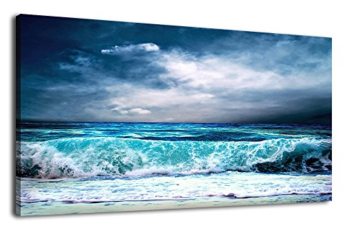 arteWOODS Canvas Wall Art Ocean Waves Canvas Painting Stormy Weather Blue Sky Large Panoramic Pictures Contemporary Canvas Artwork Blue Sea Sands Wave for Office Home Decoration Wall Decor 20'' x 40'' by arteWOODS