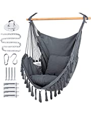 WBHome Hammock Chair Swing with Hanging Hardware Kit, Cotton Canvas, Include Carry Bag & Two Seat Cushions, for Bedroom Indoor Outdoor, Max. Weight 330 Lbs