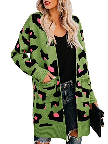 Msikiver Womens Leopard Print Sweater Cardigan Open Front Long Sleeve Knit Coat with Pockets Green