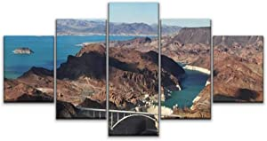 XShero Modern Artwork Canvas Wall Art Hoover Dam/Grand Canyon National Park Arizona Magnificent Abstract Unique Prints Painting Wall Decor with Framed 5 Panel