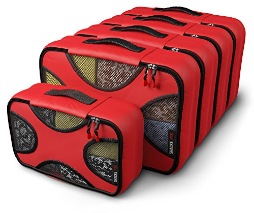 Shacke Pak - 5 Set Packing Cubes - Medium/Small - Luggage Packing Travel Organizers (Warm Red)
