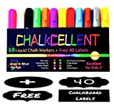 Liquid Chalk Markers - Pack of 12 Erasable Glass And Window Neon Color Pens ...