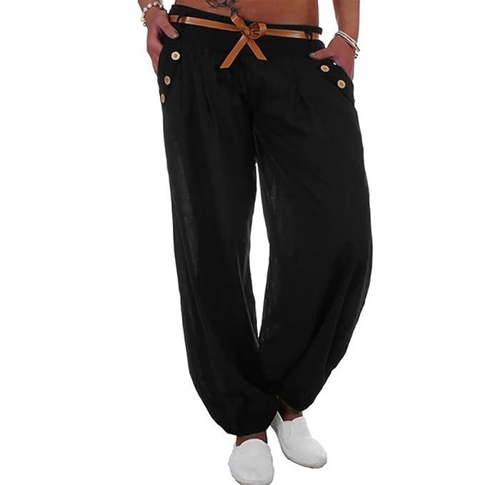 Pantalón Sudadera Baggy Yoga Mujer Pantalones de Yoga Algodón Suave Piernas Pantalones Anchos Elástico Pretina Pantalones Bombachos de Fitness Bailan ...
