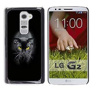 Qstar Arte & diseño plástico duro Fundas Cover Cubre Hard Case Cover para LG G2 / D800 / D802 / D802TA / D803 / VS980 / LS980 ( Black Siamese Cat Yellow Eyes Panther)