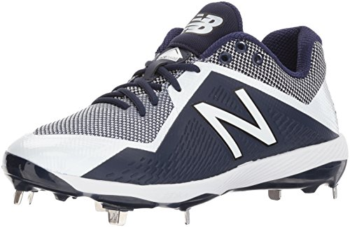 New Balance Men's L4040v4 Metal Baseball Shoe, Navy/White, 10 D US - White Metal Insert