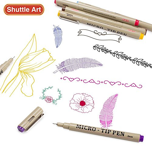 Shuttle Art 18 Pack Ultra Fine Point Tip Micro Line Pens - Waterproof Archival Ink & 11 Colors in 0.3MM Felt Tip - 7 Blacks in Tip Sizes 0.15MM to 0.5MM For Journaling Technical Illustrating Drawing by Shuttle Art (Image #6)