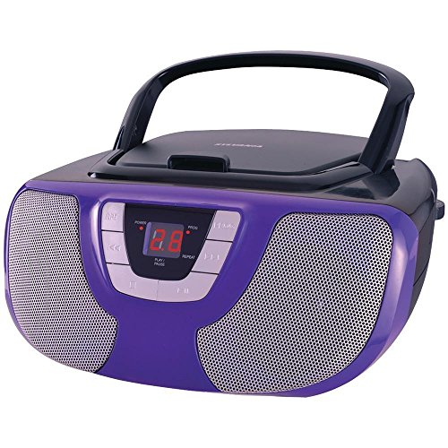 Sylvania Portable CD Player Boom Box with AM/FM Radio (Purple) (Boombox Cd Player White)