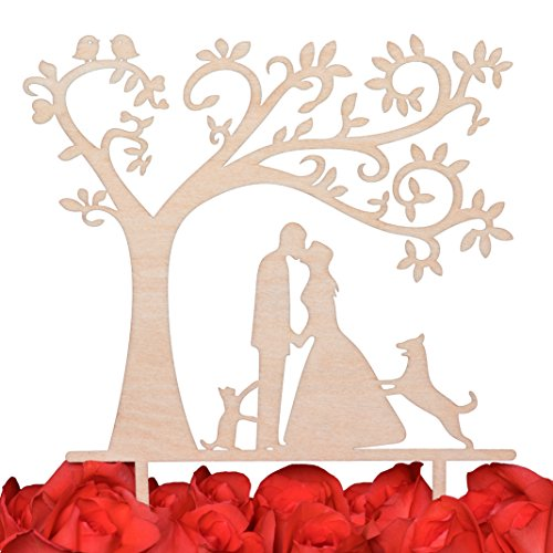 (LOVENJOY Gift Box Pack Bride and Groom with Dog and Cat Silhouette Tree Wedding Engagement Cake Topper Rustic Wood (5.3-inch))