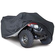 Universal All Weather ATV Cover, Waterproof Dust Sun Wind Proof Outdoor ATV UV Cover, Durable Quad Storage Protection for Honda Polaris Yamaha Suzuki (XL, Black)