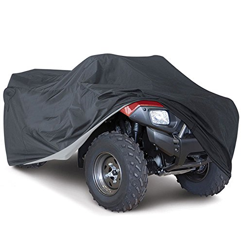 Universal All Weather ATV Cover, Waterproof Dust Sun Wind Proof Outdoor ATV UV Cover, Durable Quad Storage Protection for Honda Polaris Yamaha Suzuki (Black, L) (Storage Bag Towable)