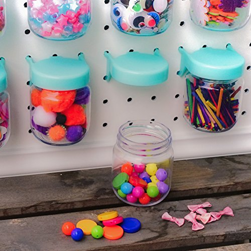 Pegboard Accessories Organizer Storage Jars - Crush & Impact Resistant Plastic Caddy Craft Jars - One-Handed Locking System - Garage Workbench, Crafting, Tools, Jewelry, Sewing - Set of 12 (Blue) by WORLD AXIOM (Image #7)