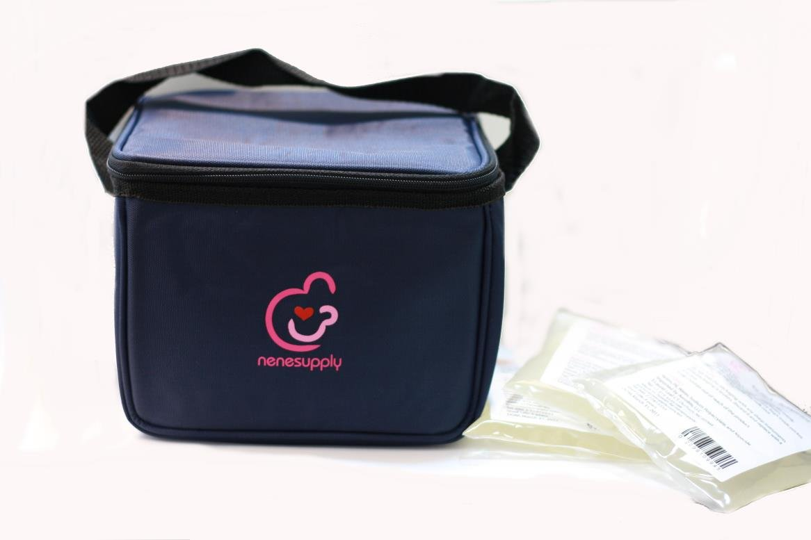 NeneSupply Breast Milk Cooler Bag with 3 ice packs. Can Fit into Medela Pump In Style and Medela Freestyle's carry totes M007
