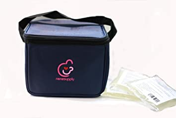 Bottle cooler bag and ice packs for breastmilk storage. Can fit into Medela pump-in-style carry bag, and can hold upto 5 Lansinoh breastmilk storage ...