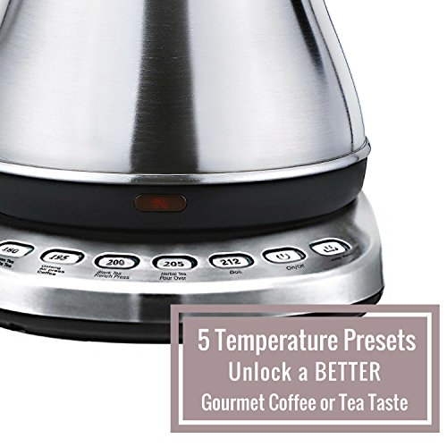 electric gooseneck kettle with temperature presets 1l electric teapot drip kettle temperature control stainless steel coffee kettle and electric tea pot