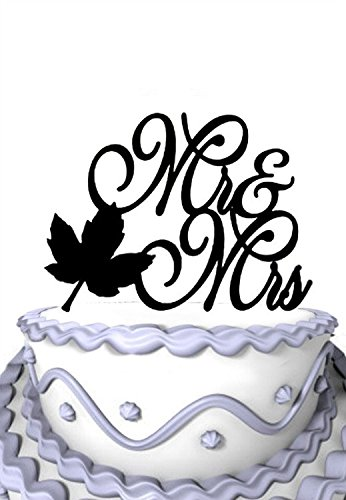 Fall Wedding Cake Topper - Meijiafei Fall Leaf Script Mr and Mrs or Bridal Shower Custom Wedding Cake Topper