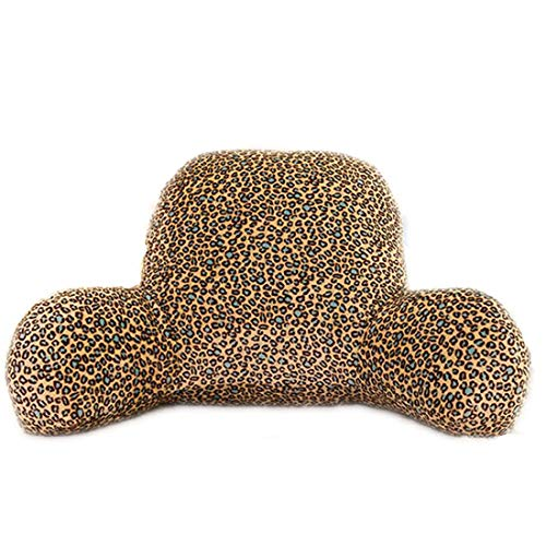 Leopard Flannel Gifts (Yaskitao Reading Pillow, Bedrest Pillow Lumbar Pillow, Bed Rest Pillow with Arm, Sofa and Office Chair Back Support Pillow, Lumbar Pillow for Kids, Adults,Men,Women, a Must Gift (Leopard, Small))
