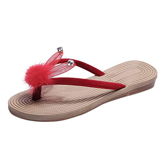 Pelota de Pelo Conejo Oreja Rhinestone Zapatos Planos Chanclas Zapatillas LILICAT ✈✈ 2019 Mujeres Damas Verano Cristal Dibujos Animados Chanclas ...