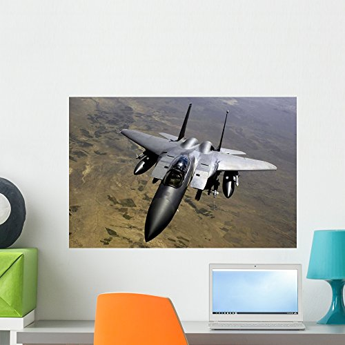 - F-15e Strike Eagle Aircraft Wall Mural by Wallmonkeys Peel and Stick Graphic (24 in W x 16 in H) WM90940