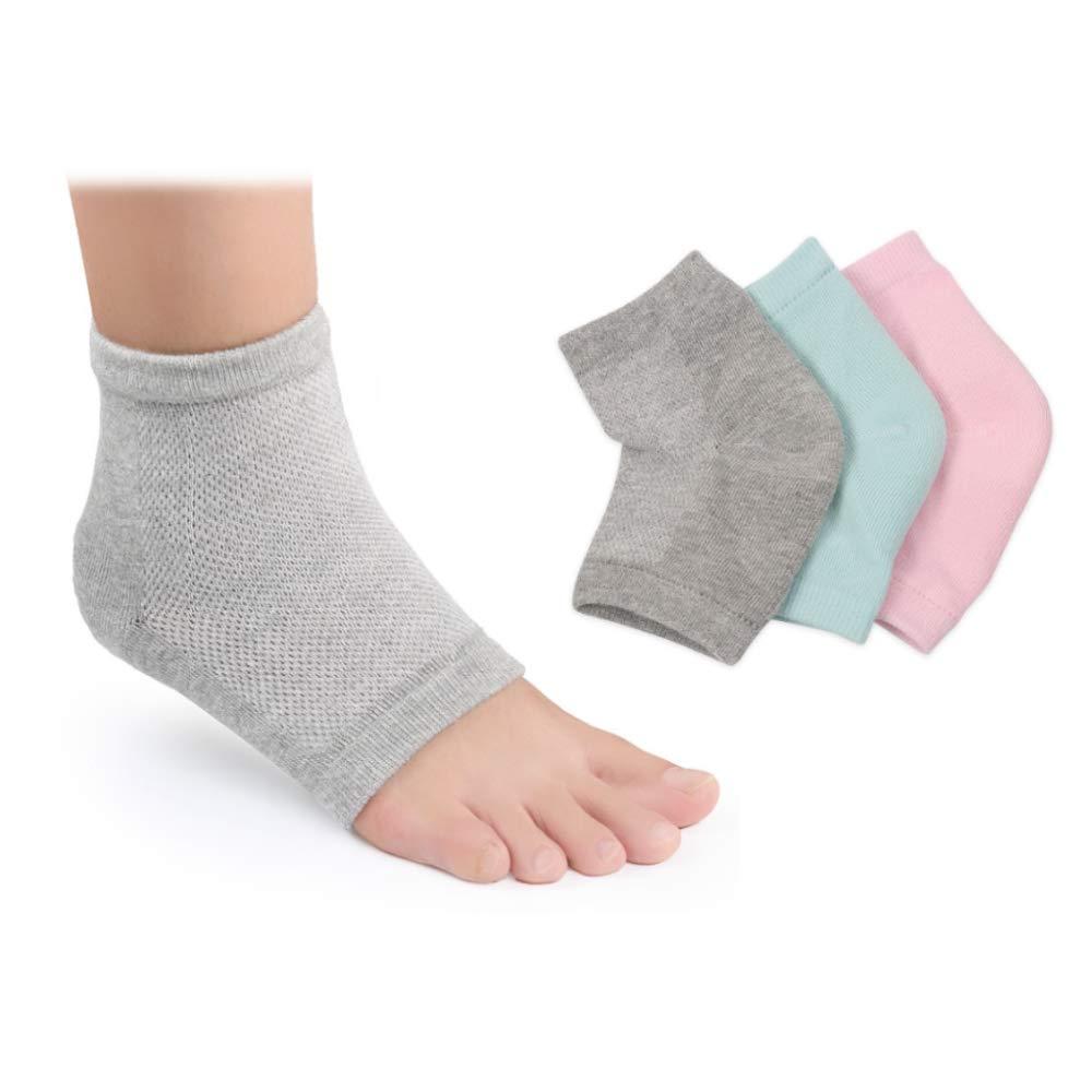 Moisturizing Socks, 3 Pairs-Moisturizing/Gel Heel Socks for Dry Cracked Heels, Open Toe Socks, Ventilate Gel Spa Socks to Heal and Treat Dry, Gel Lining Infused with Vitamins (Pink, Turquoise, Grey)