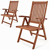 Deuba 2x Folding Wooden Garten Chairs Eucalyptus Hardwood FSC-Certified