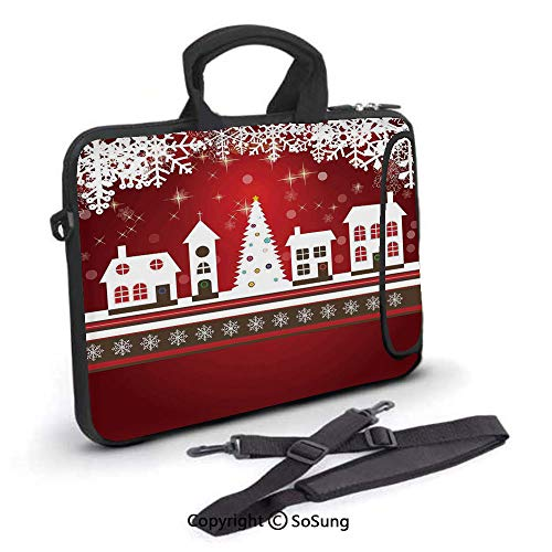 17 inch Laptop Case,Winter Holidays Theme Gingerbread House Tree Lights and Snowflakes Art Neoprene Laptop Shoulder Bag Sleeve Case with Handle and Carrying & External Side Pocket,for Netbook/MacBook