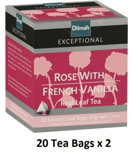 Dilmah Rose With French Vanilla Pure Ceylon 20 Luxury Leaf Tea bags (Pack of 2) ()