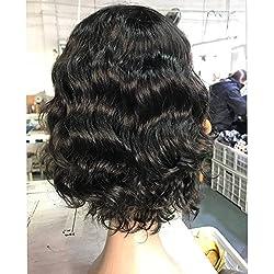 UDU Short Weave Curly for Black Women Short Bobs Wavy Wigs Brazilian Loose wave Wigs Short Human Hair Wigs for Black Women None Lace Frontal Closure 1B Color Short Wigs for Black Women
