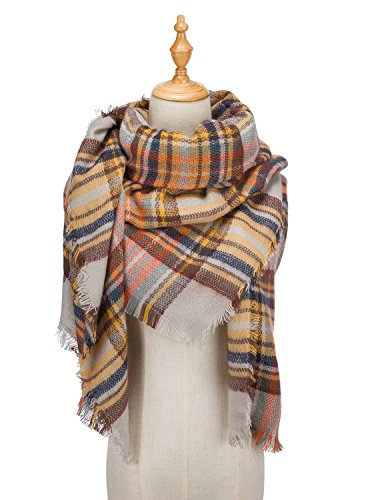 Large Tartan Fashion Women Scarf Lovely Best Gift Scarf Wrap Shawl Beige