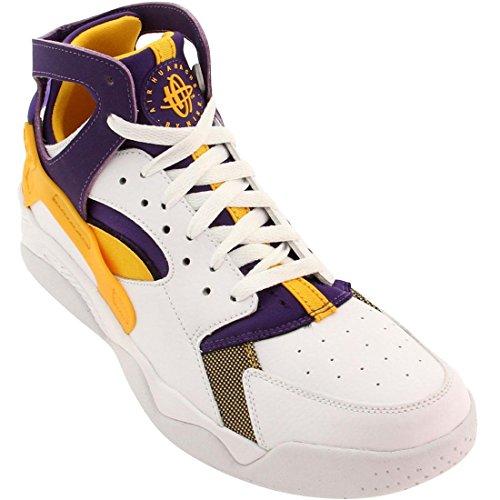 Nike Men's Air Flight Huarache White/University Gold/Crt Prpl Basketball Shoe 10 Men US