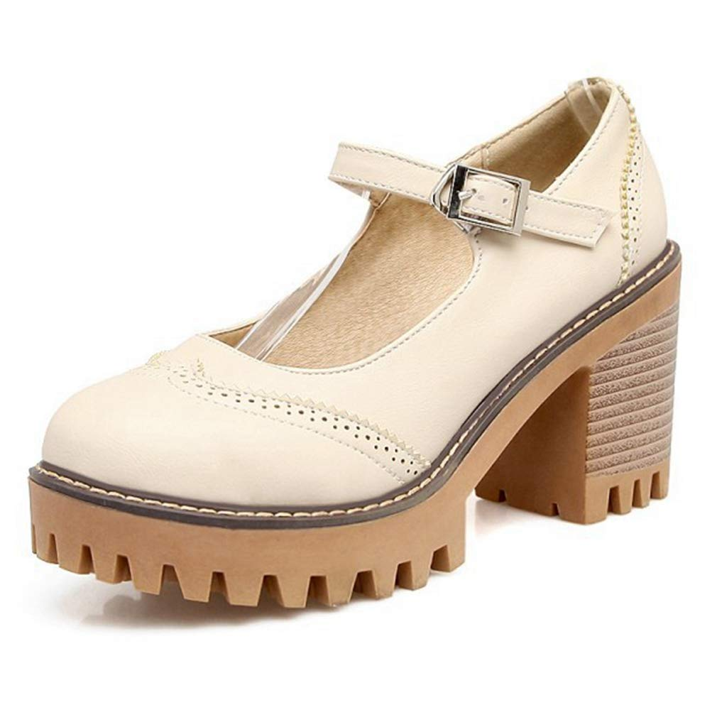 Beige CYBLING Womens Retro Platform Mary Jane Pumps Round Toe Chunky Heels Ankle Strap Brogue Oxford shoes