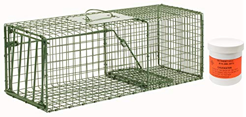 Standard Trap Door - Duke HD Medium Cage Trap Model 1109 Standard Single Door Cage Trap with 6oz On Target A.D.C. Chuckster Bait Included