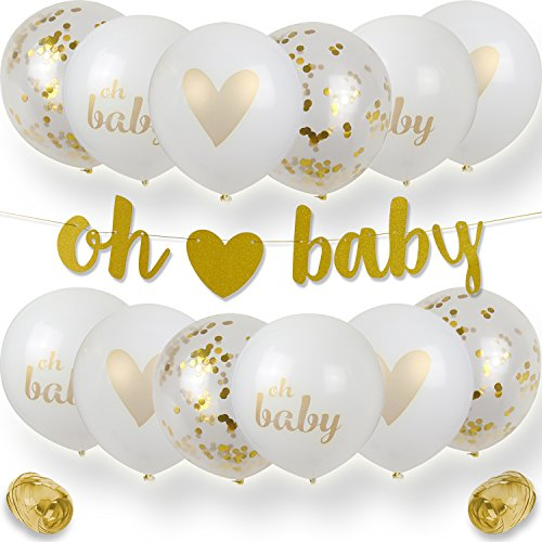 Premium Baby Shower Decorations, Gold Glittery Oh Baby